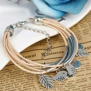 Leaves, Bird & Tree of Life Charm Tan Bracelet